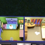 Patterns room on left; guest room on right